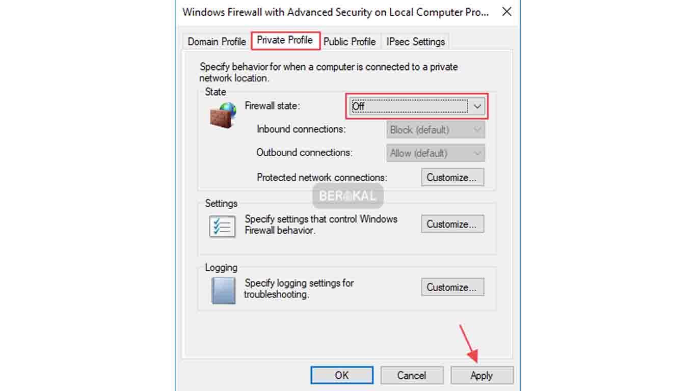 menu private profile di windows firewall