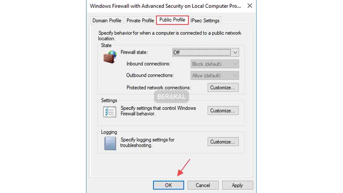 cara mematikan firewall menu di public profile