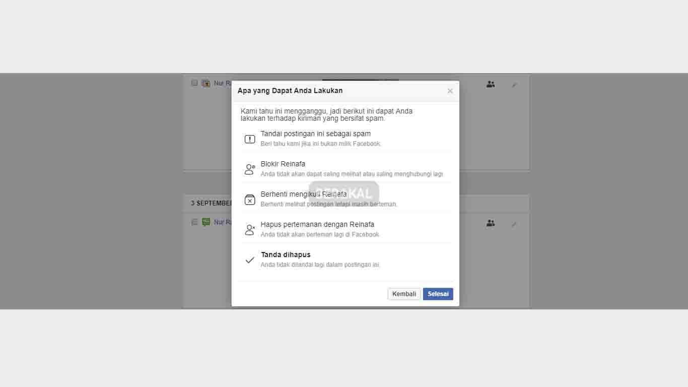 Berhasil Menghapus Tanda di Facebook