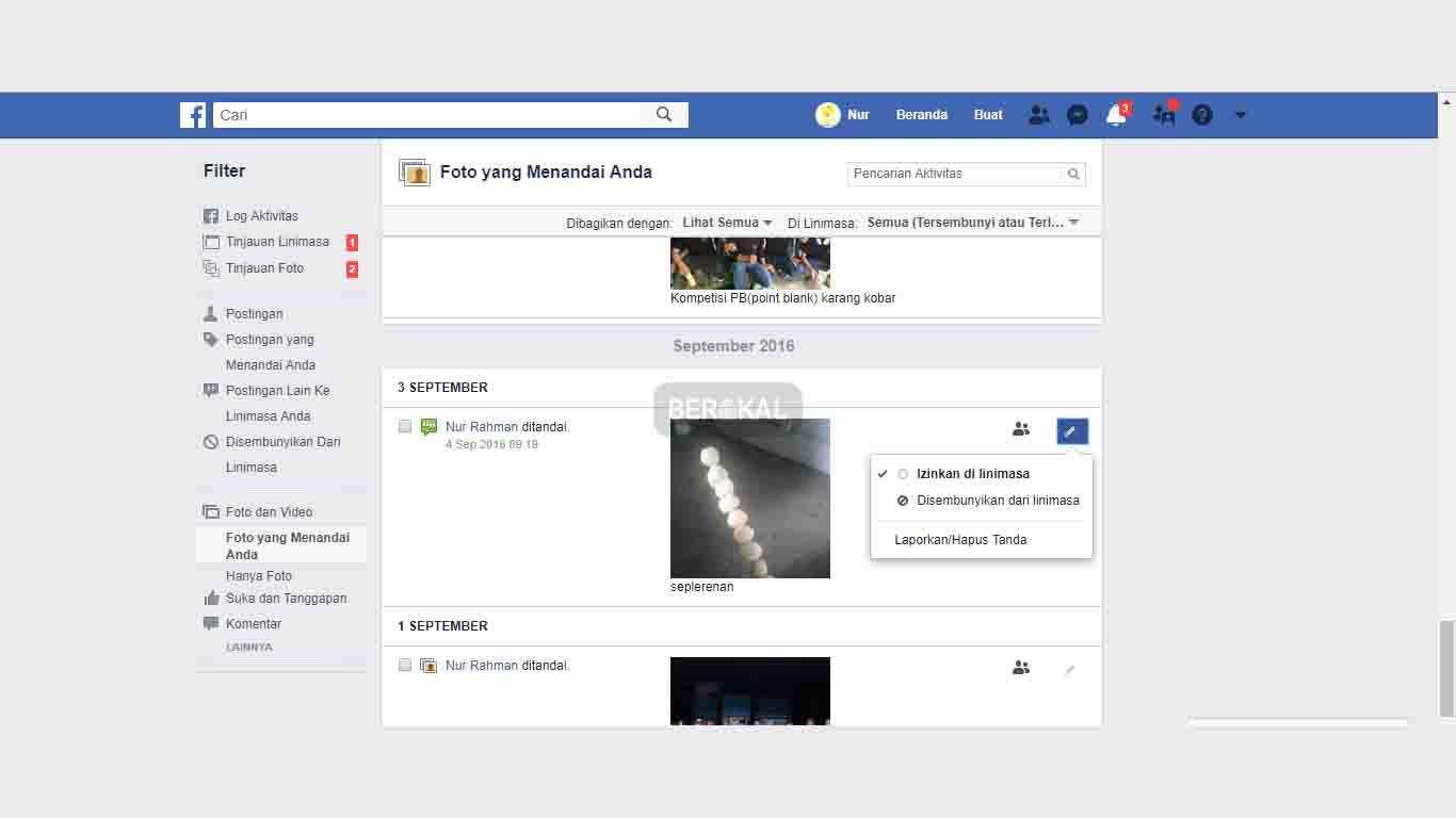 Cara Menghapus Tanda di Facebook dengan Log Aktivitas
