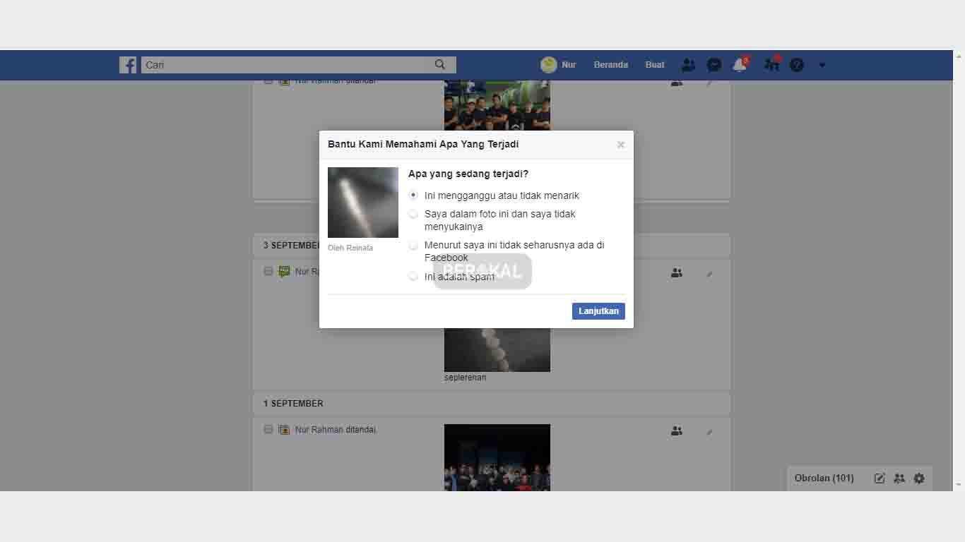 Cara menghapus tanda pada foto di Facebook