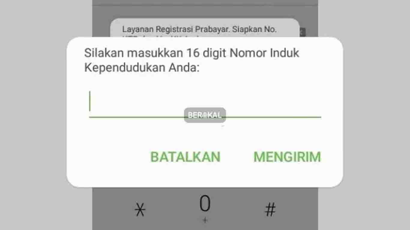 Menu nomor NIK untuk Cek Status Registrasi