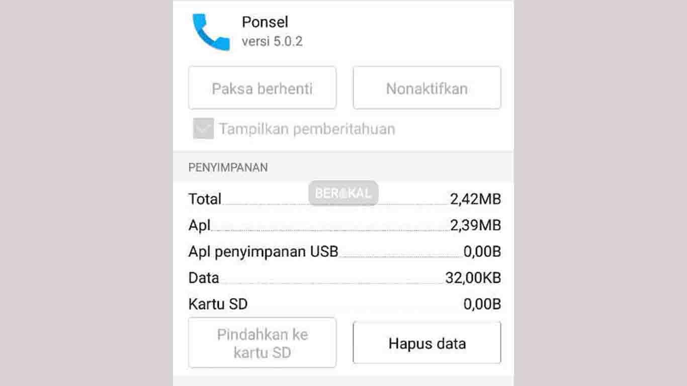 hapus data aplikasi panggilan
