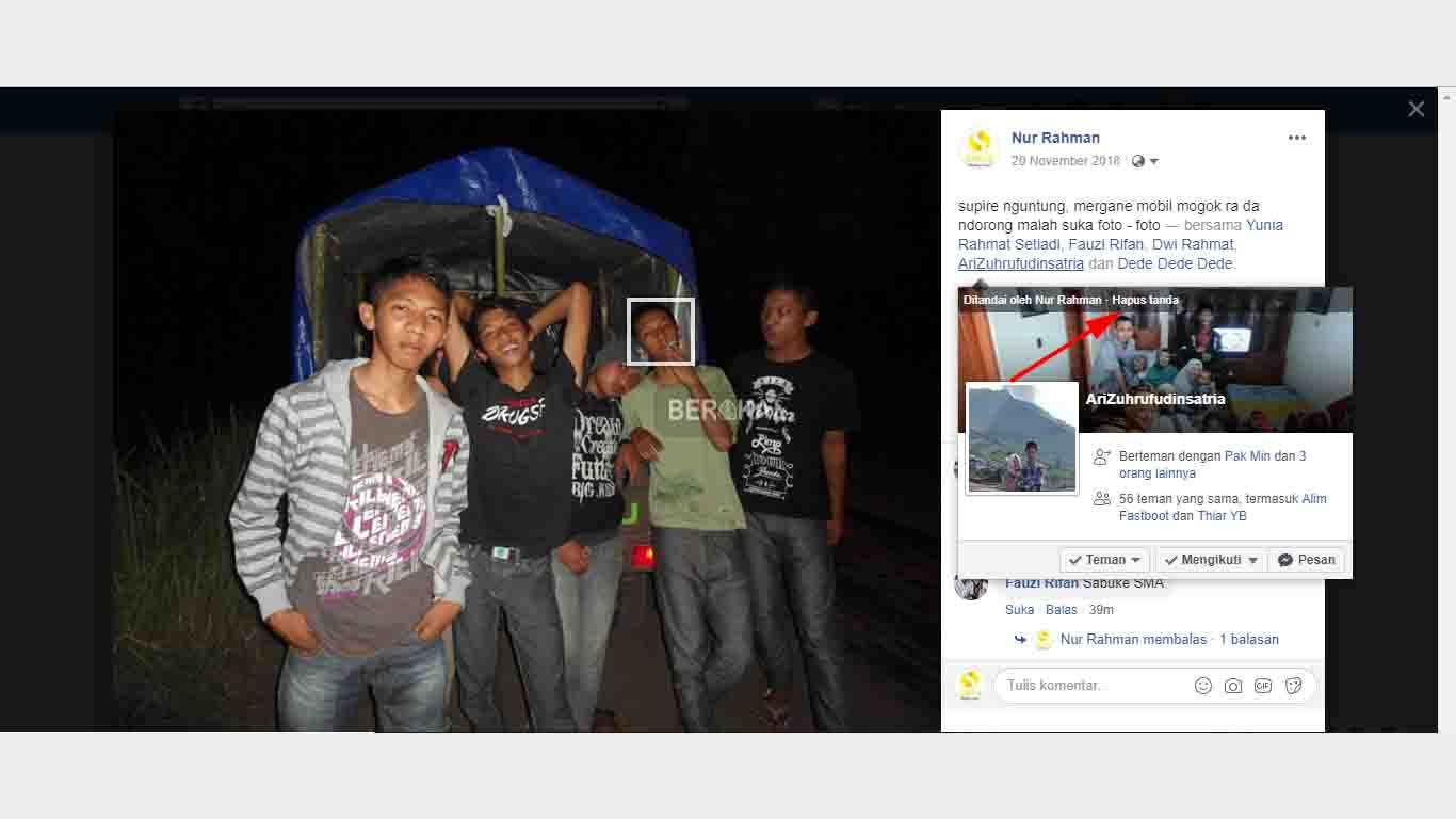 Cara menghapus orang yang ditandai di foto facebook