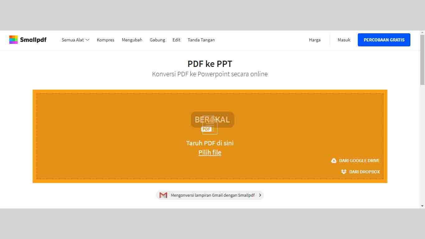 Cara Mengubah File PDf ke PPT dengan Smallpdf