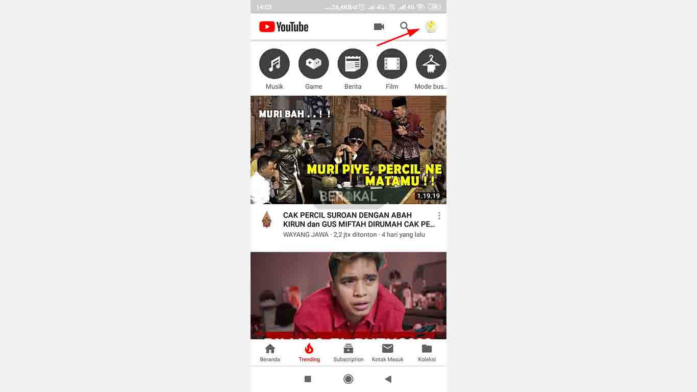 Menu Profil Youtube