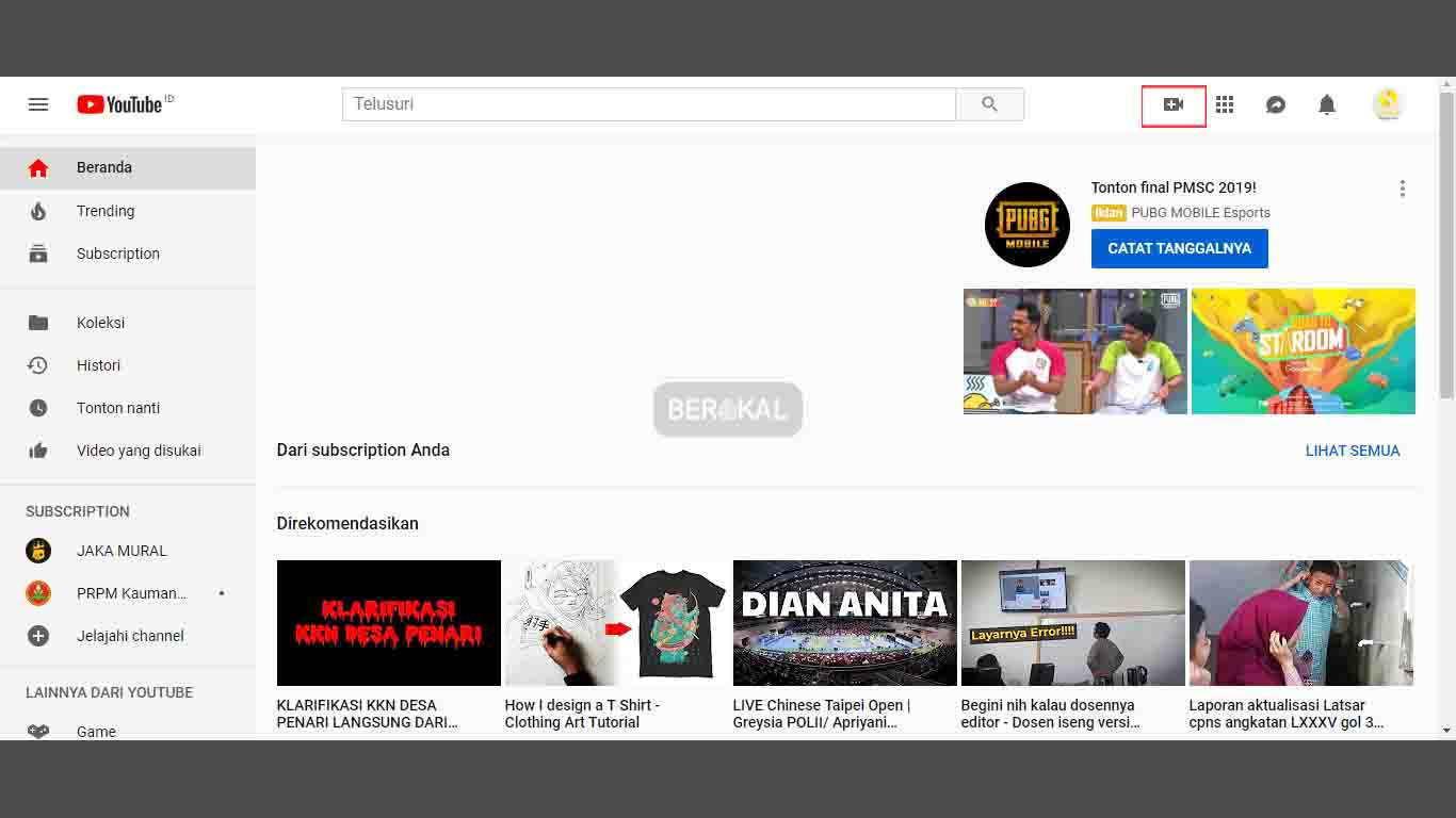 cara upload video ke channel YouTube