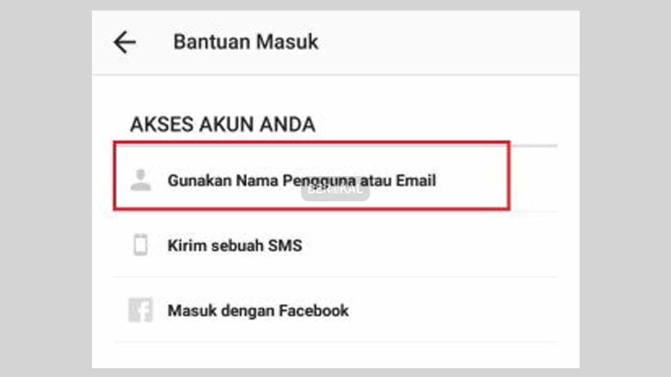 gunakan nama pengguna atau email ig