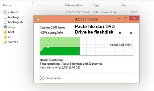 paste file ke flashdisk