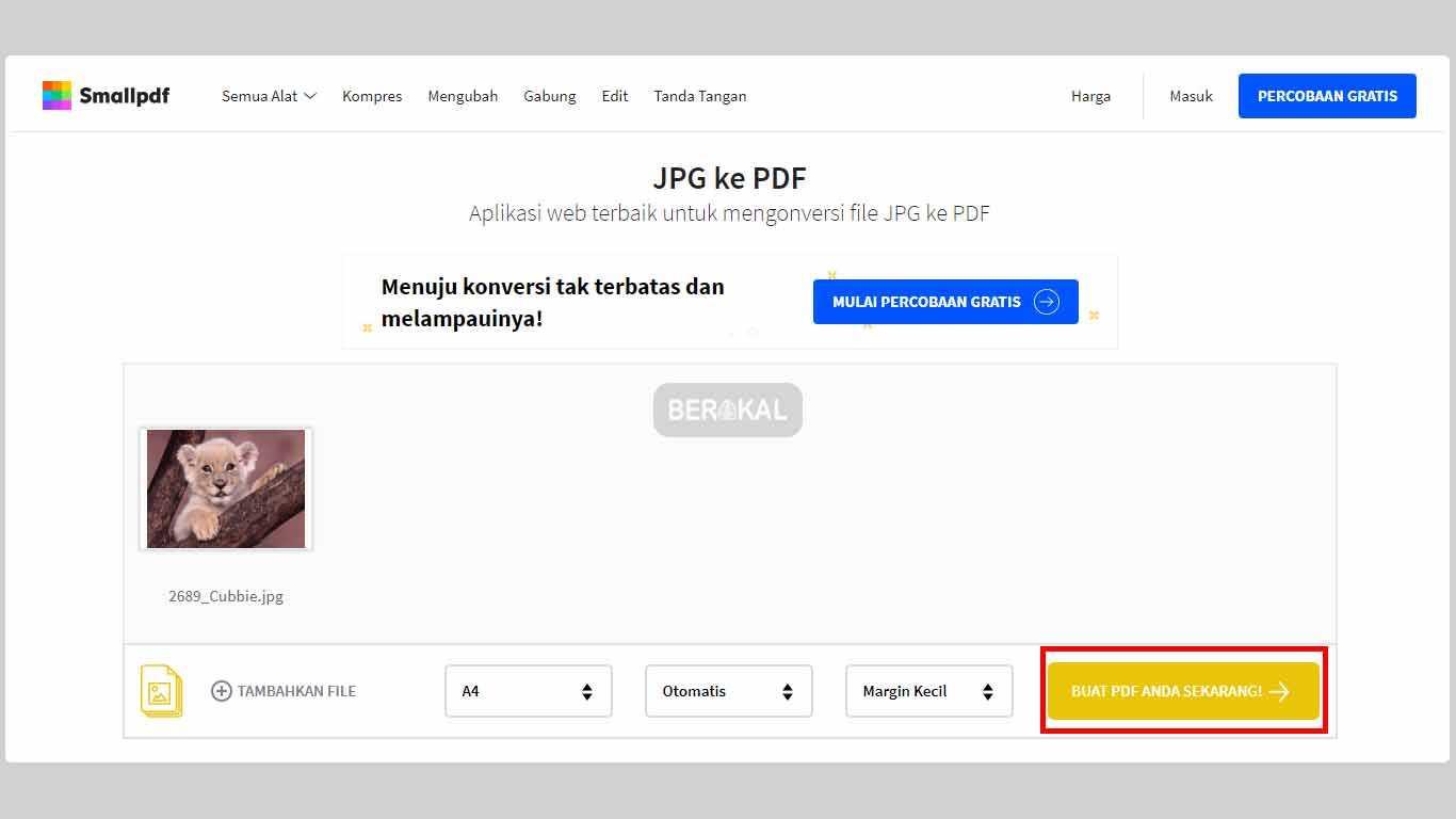 cara mengubah file gambar ke pdf
