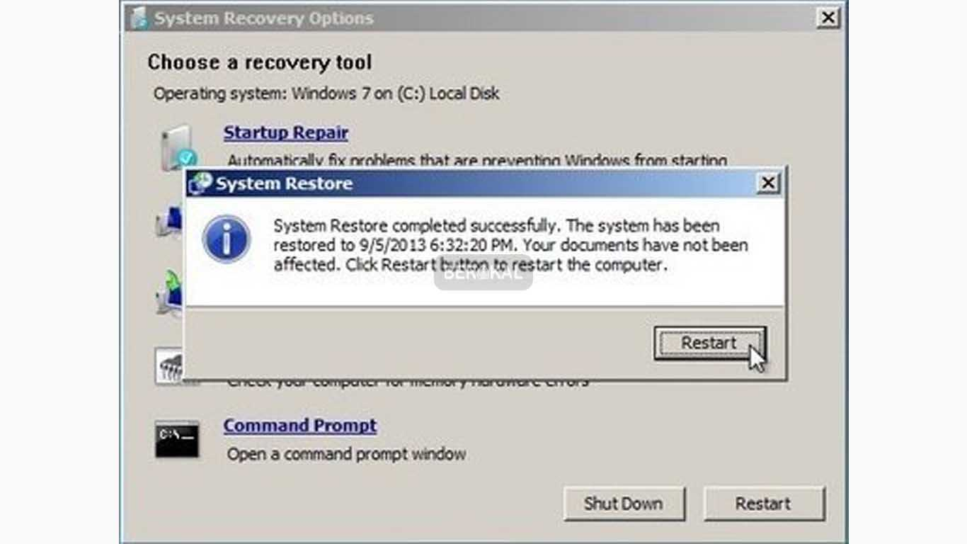 system restore completed succesfully