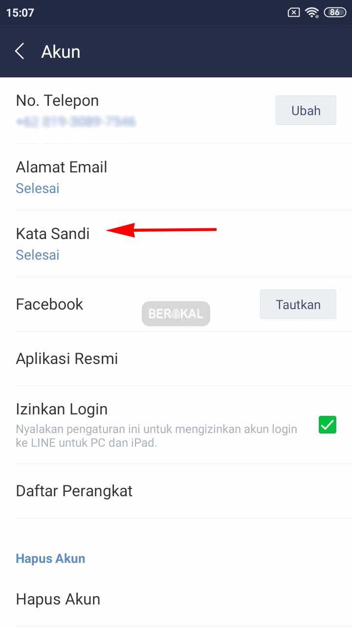 lupa password line tanpa email
