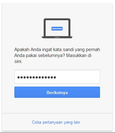 ketik password gmail lama