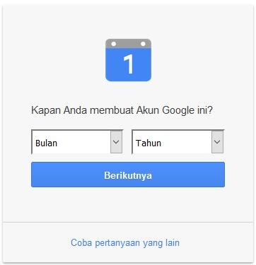 masukkan tanggal pembuatan akun google