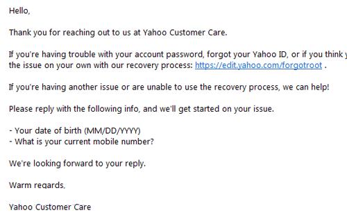 Email Yahoo CS