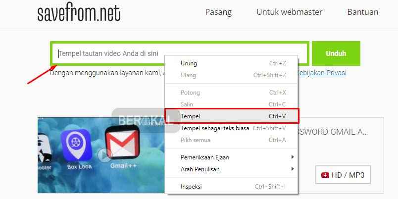 cara download video youtube di savefromnet