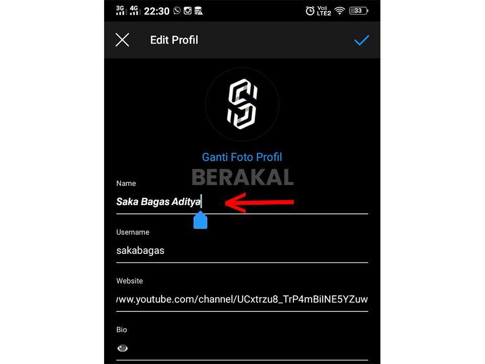 cara mengganti nama pengguna instagram di smartphone