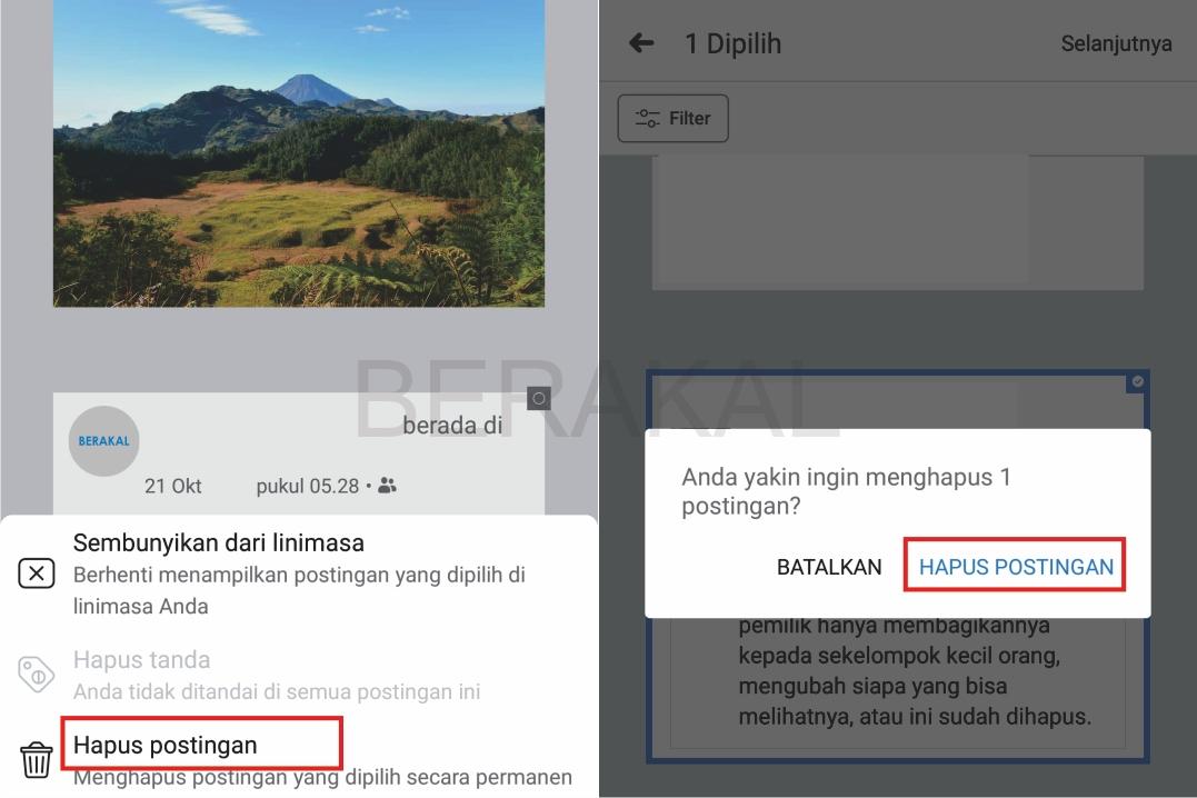 cara menghapus semua status di facebook android