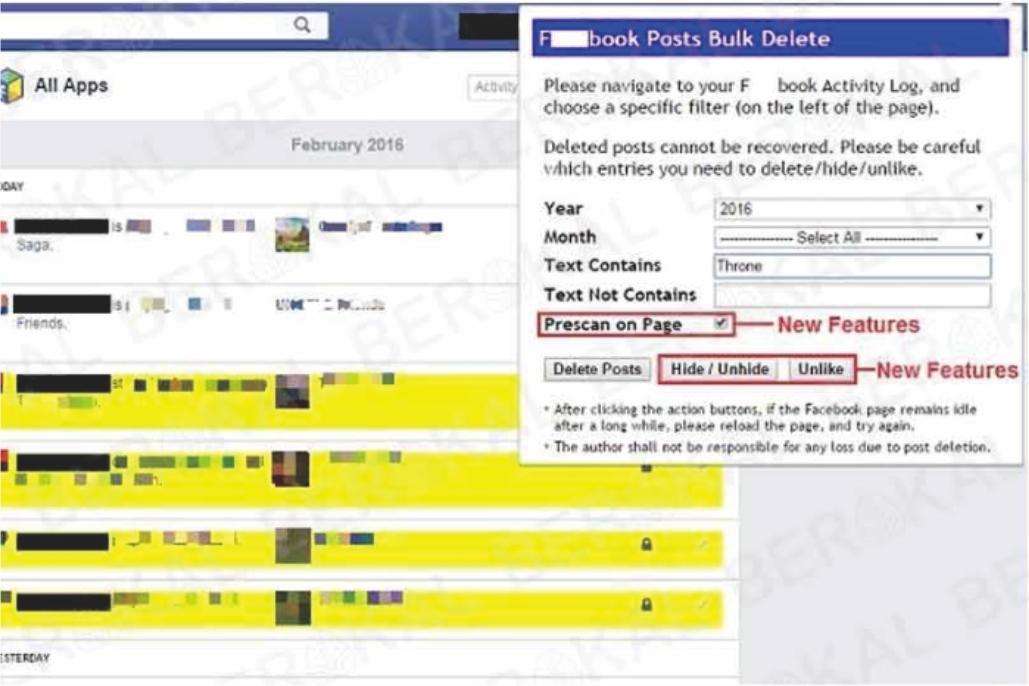 hapus status fb sekaligus
