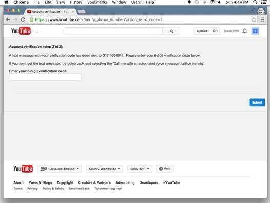 masukkan kode verifikasi youtube