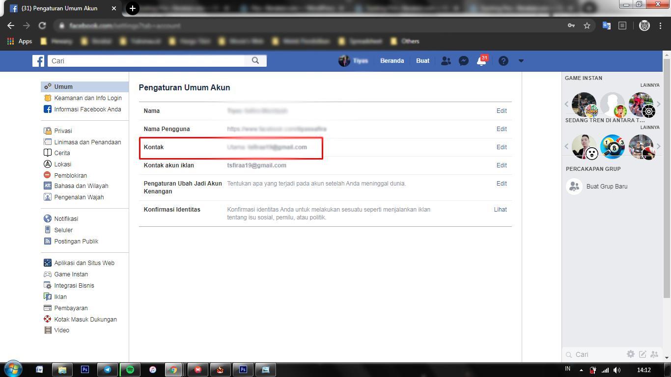 Cara Mengetahui Email Facebook Melalui Pengaturan