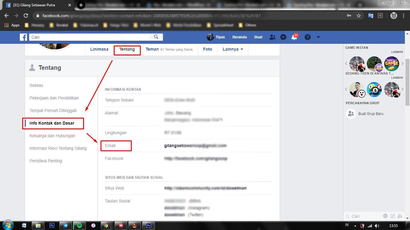 cara melihat email fb orang lain di hp