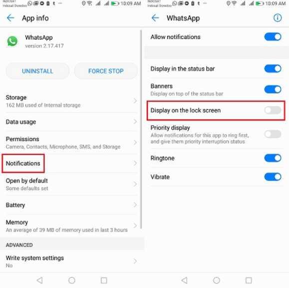 cara menghilangkan notifikasi mengambang wa