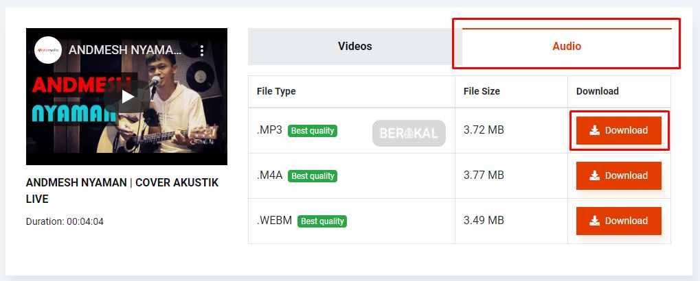 download audio dari youtubedownload audio dari youtube