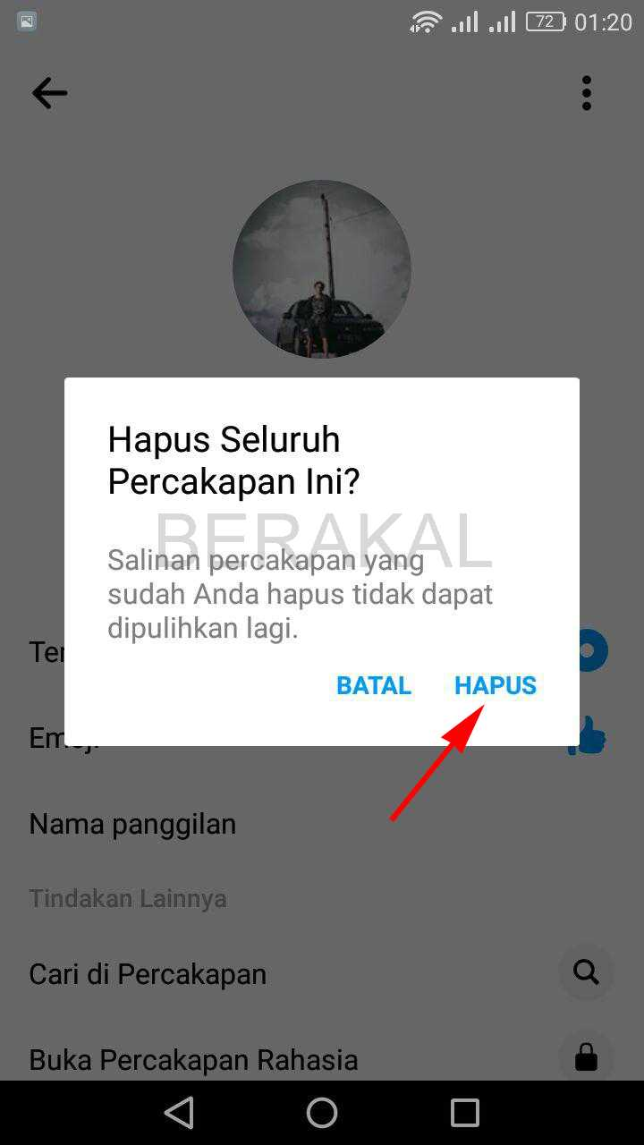 hapus chat messenger
