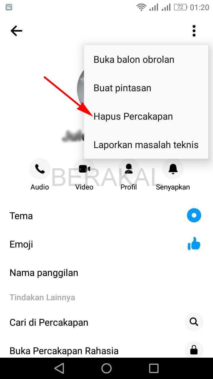 hapus percakapan fb