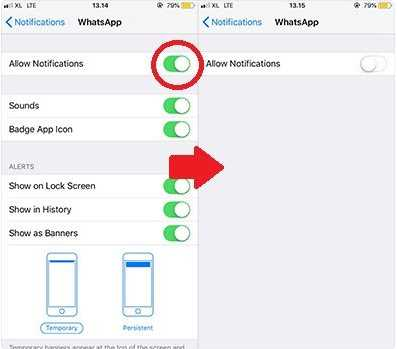 menonaktifkan whatsapp di iphone