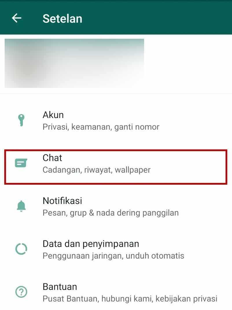 pengaturan chat whatsapp