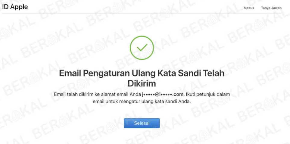 atur ulang kata sandi apple