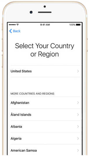 select your country of region