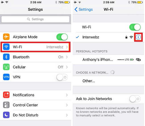 setting dns iphone