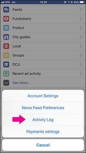 activity log facebook
