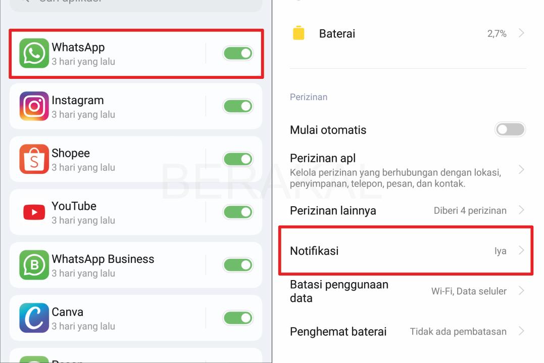 cara menampilkan notifikasi whatsapp di android