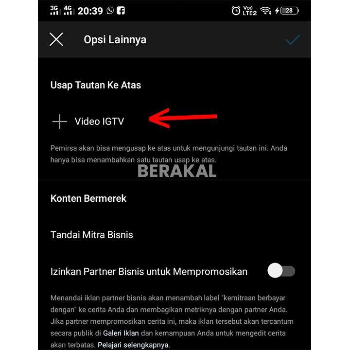 cara swipe up instagram tv