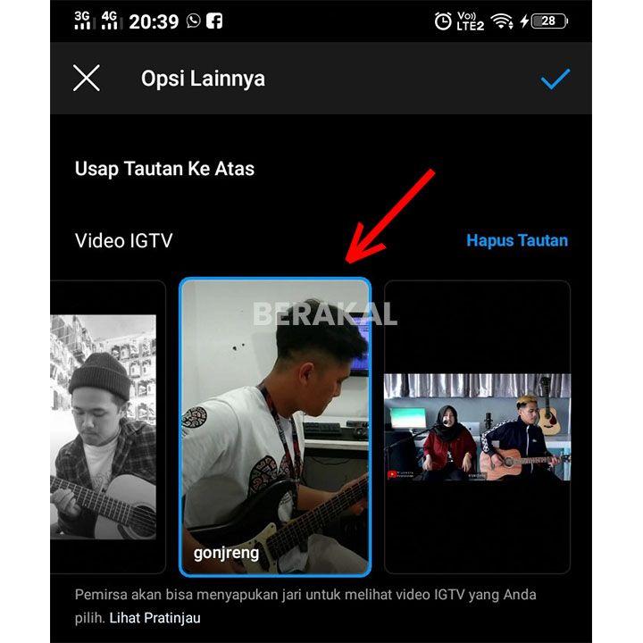 pilih instagram tv