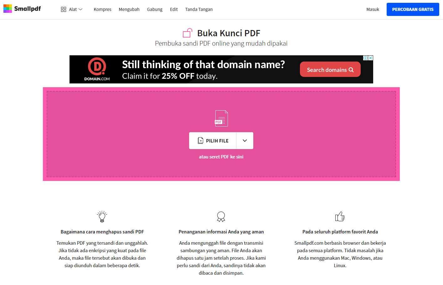 Cara Menghilangkan Password PDF via Smallpdf