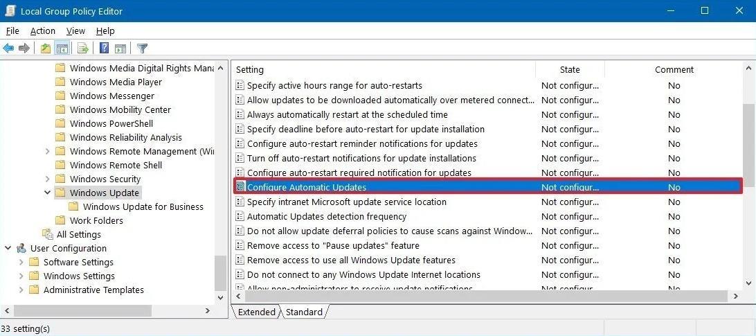 Konfigurasi update otomatis windows 10