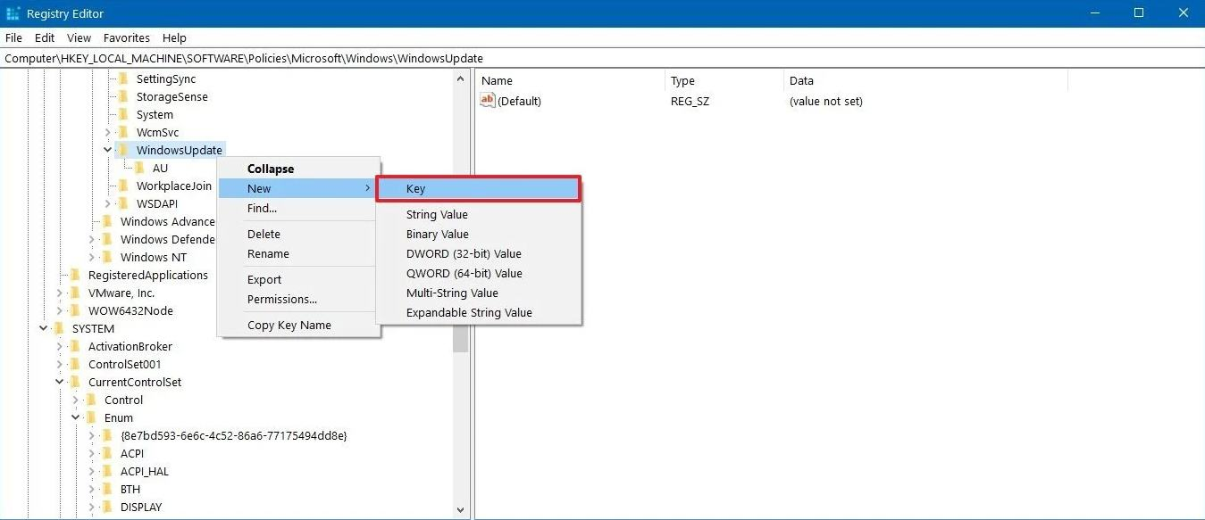 WindowsUpdate new key