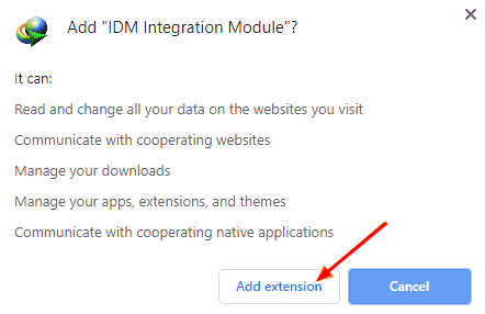 add extension idm to chrome