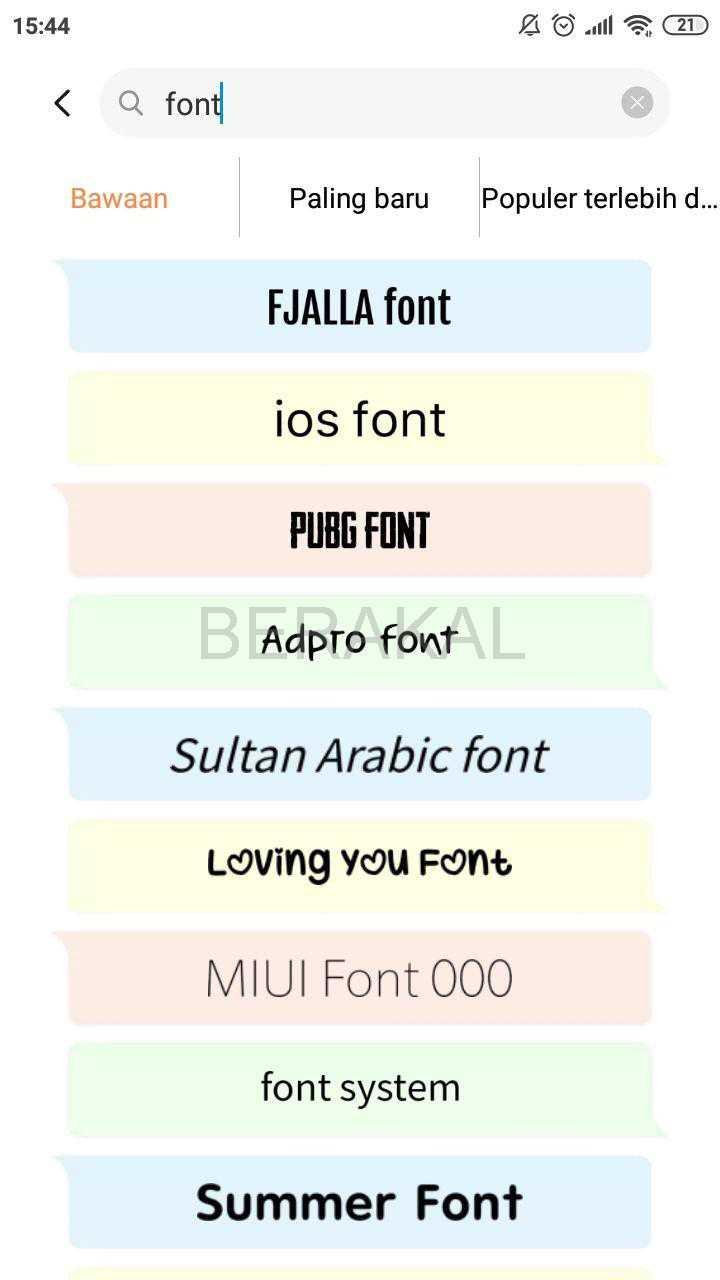 pilihan font