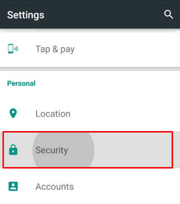 security settings android