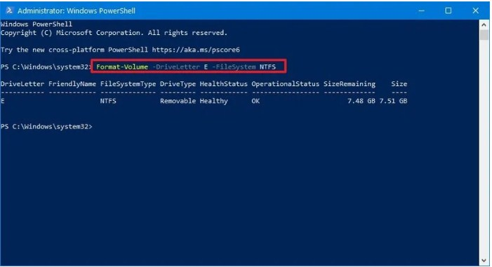 Format flashdisk via powershell.