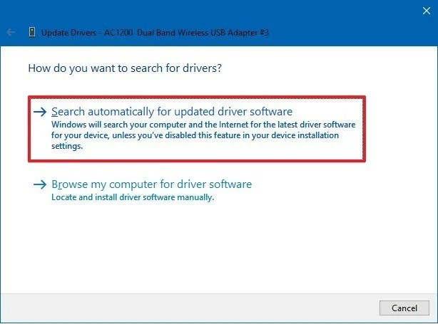 Pilih Auto search untuk mencari update driver