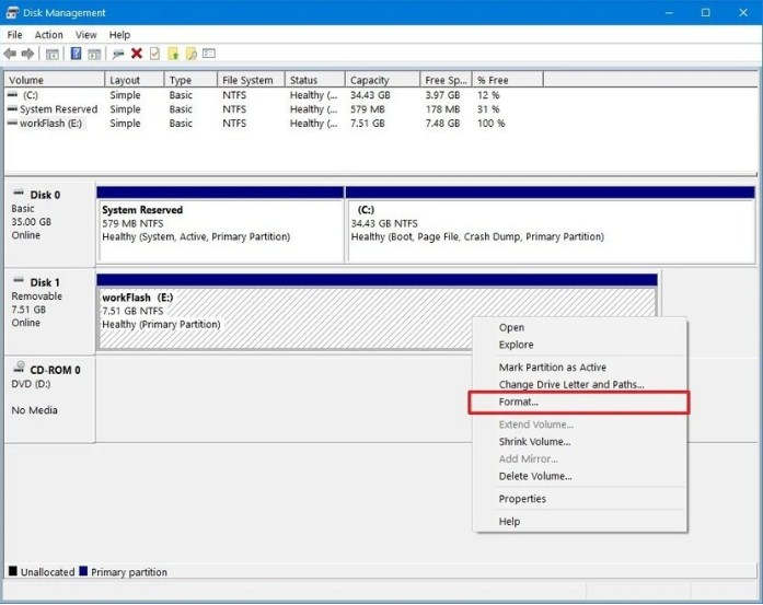 cara format flashdisk via management disk