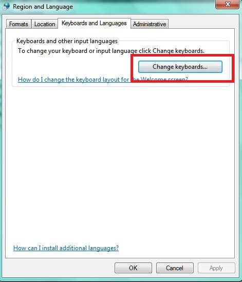 klik Change keyboard