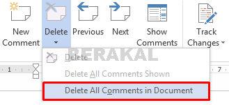 menghilangkan semua comment di word